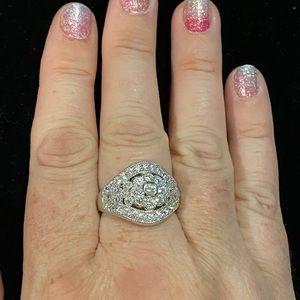 Diamonique flower ring, size 9